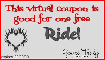 This coupon entitles you to one free ride