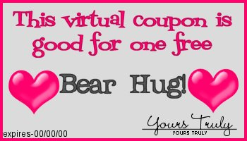 This coupon entitles you to one free bear hug